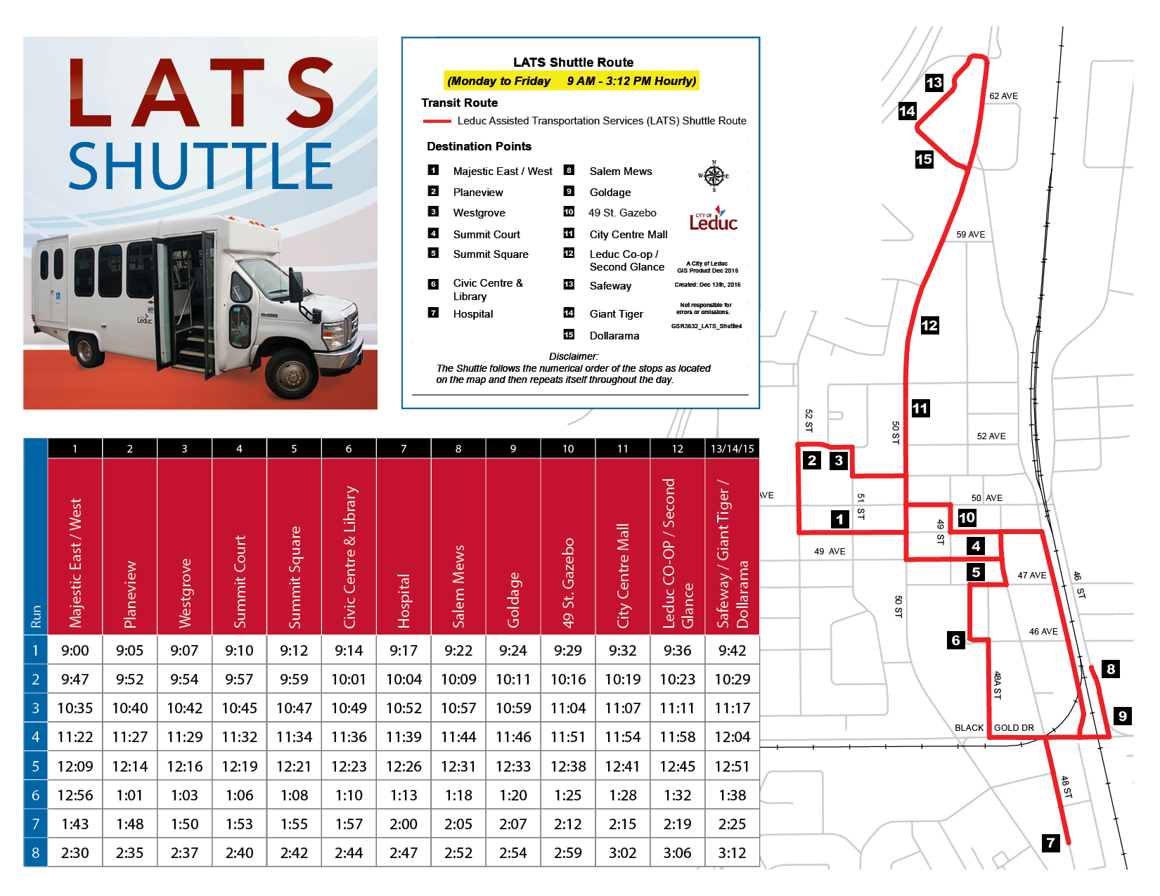 lats shuttle schedule and map | leduc transit