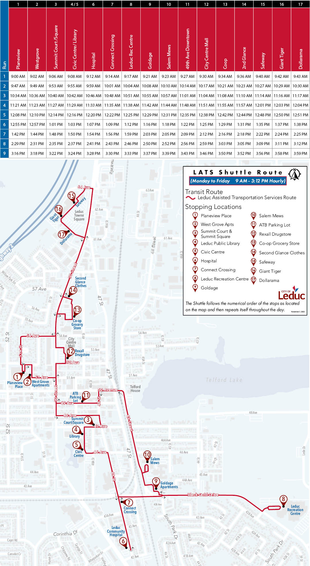Image of the LATS shuttle schedule and map - updated January 18, 2020