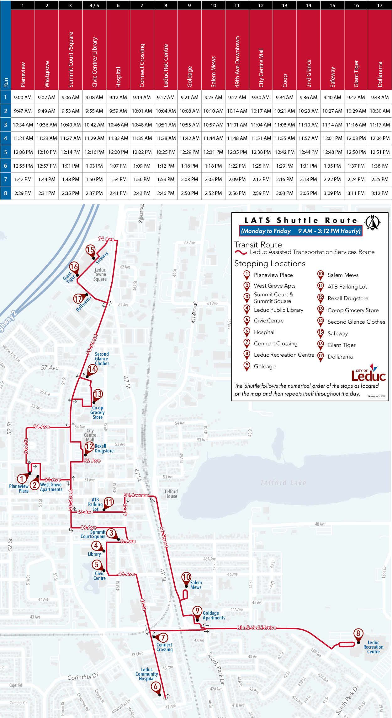 Image of the LATS shuttle schedule and map