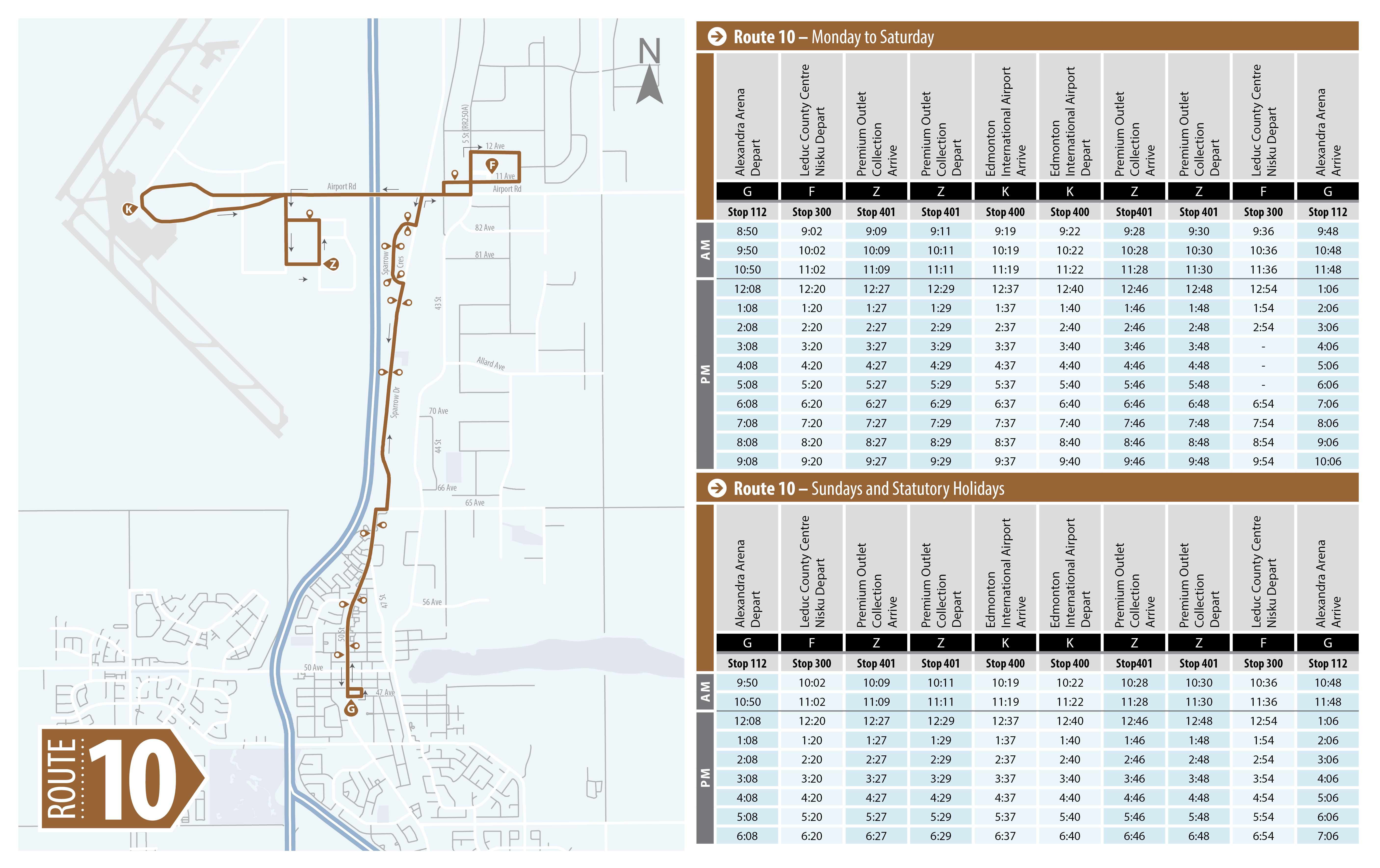 Route 10 Schedule and Map Leduc Transit